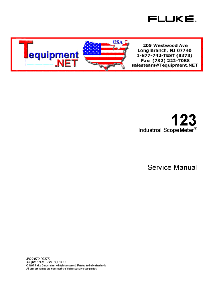 FLUKE 123 SCOPEMETER service manual