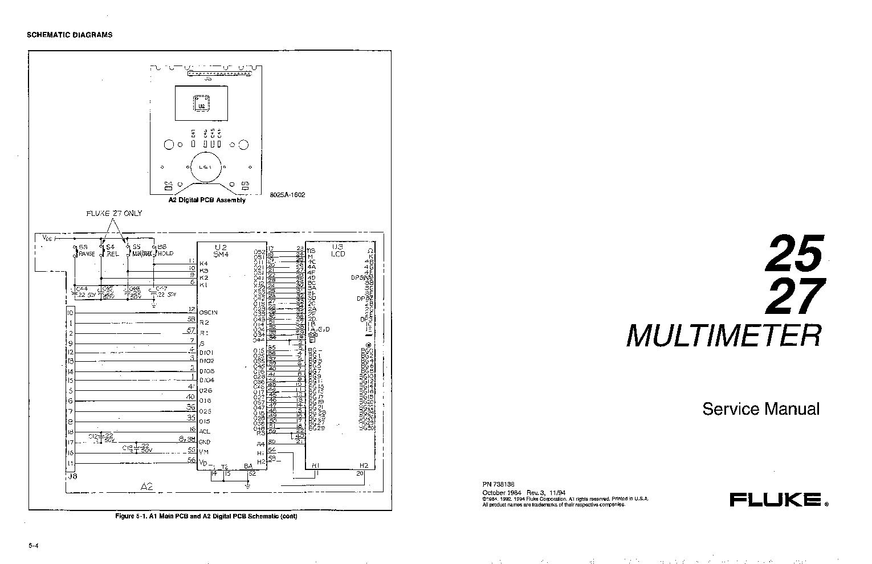 FLUKE 25 27 SM Service Manual download, schematics, eeprom