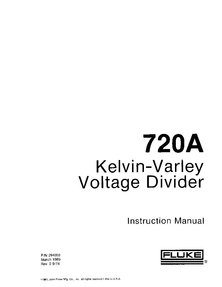 FLUKE 720A KELVIN-VARLEY VOLTAGE DIVIDER 1969 SM Service