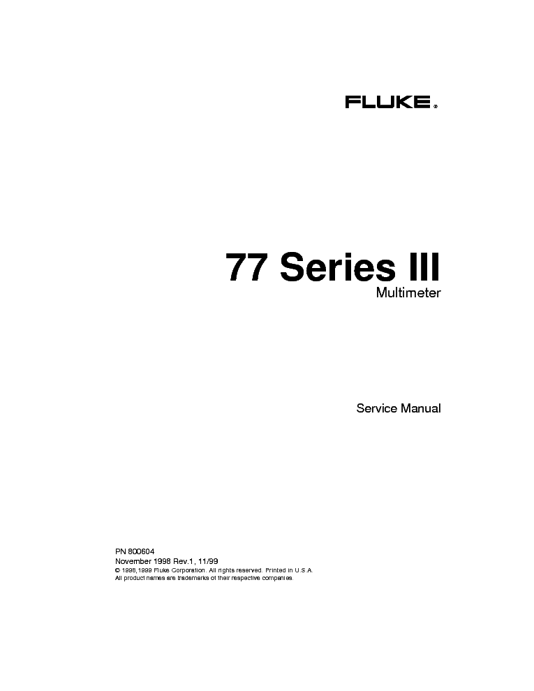 FLUKE 77-SERIES-3 SM service manual