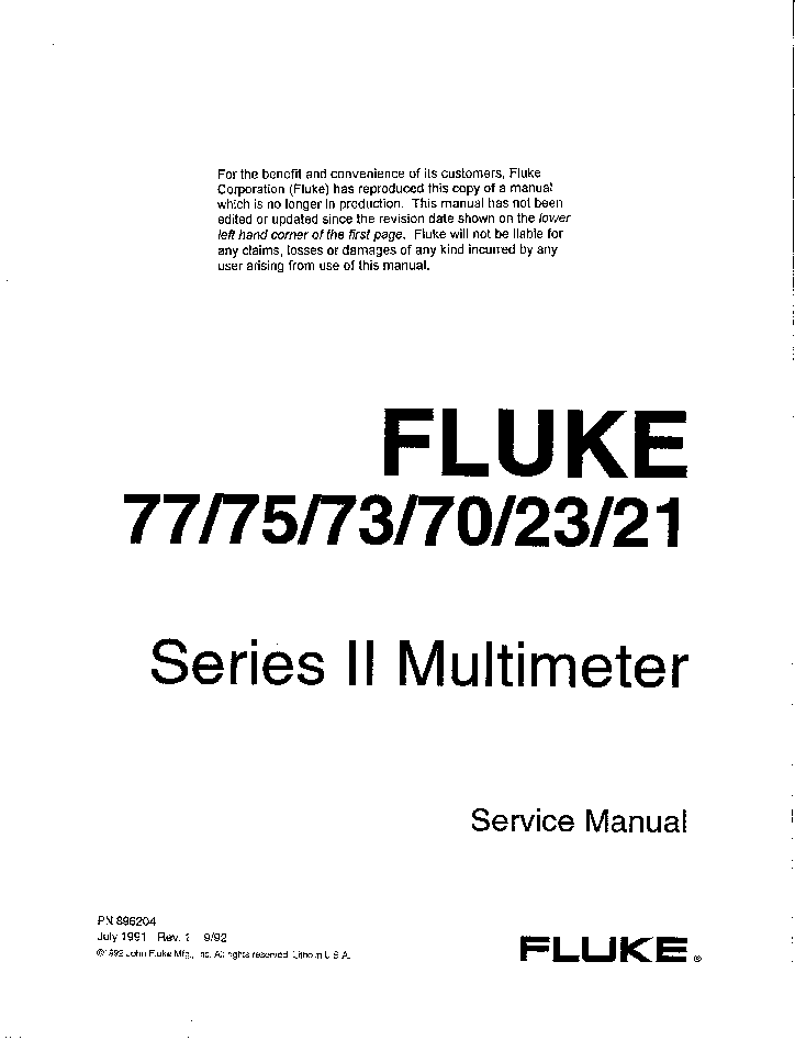 FLUKE 77 75 73 70 23 21 SERIES II DMM 1992 SM service manual