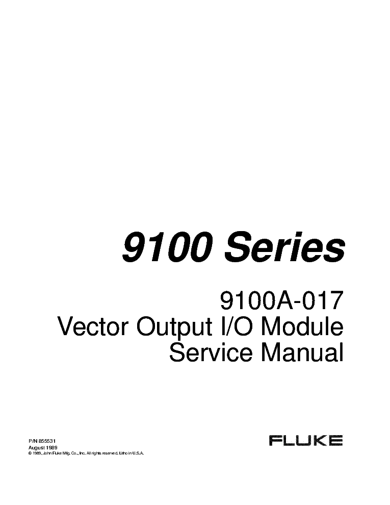 FLUKE 175 177 179 MULTIMETER CALIBRATION Service Manual