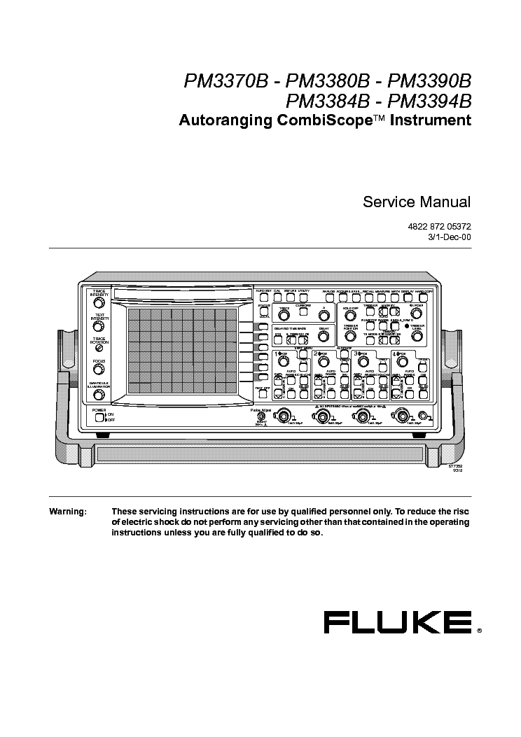 fluke pm3370b pm3380b pm3390b pm3384b pm3394b oscilloscope service rh elektrotanya com Fluke 11 Multimeter Manual fluke 337 user manual