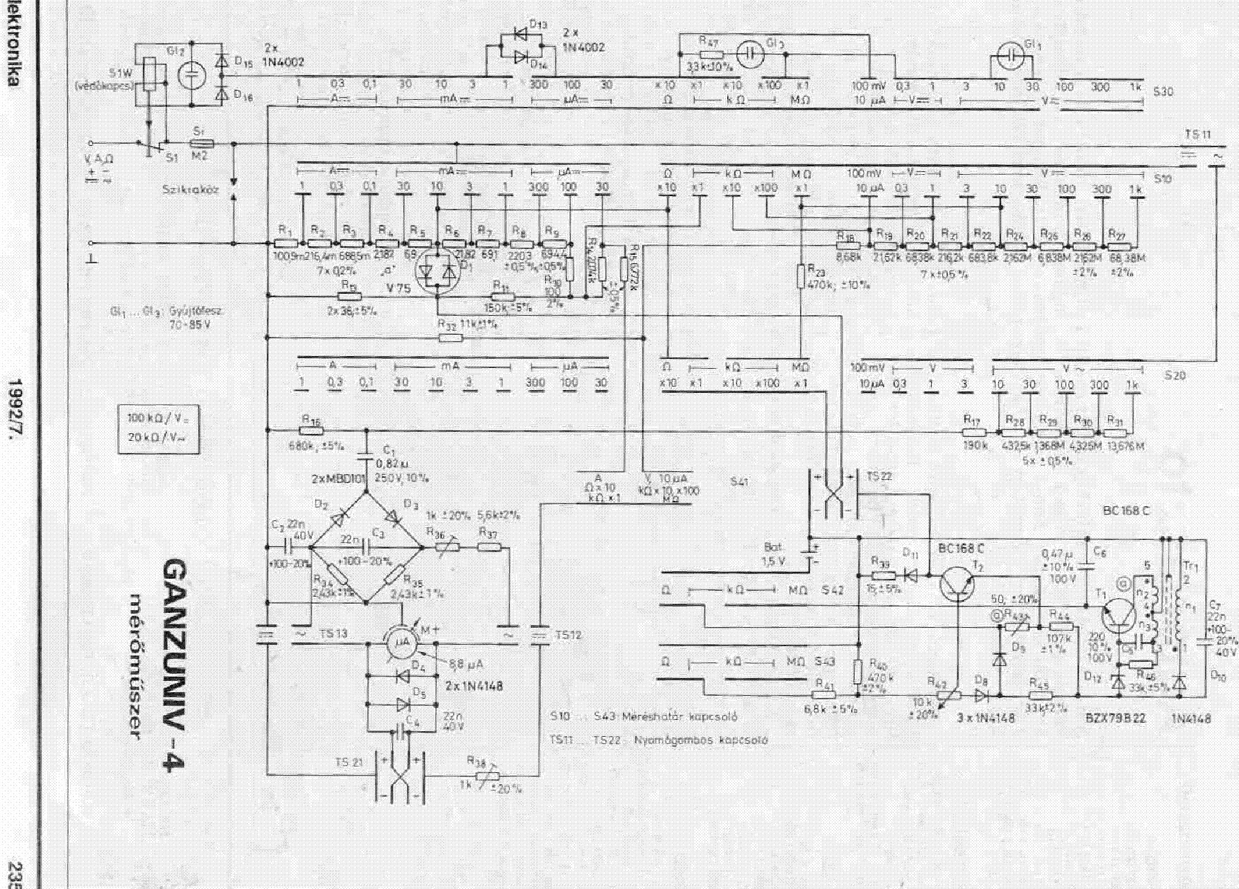 ganzuniv 4 analog multimeter service manual download schematics rh elektrotanya com analog multimeter m1015b manual gmt-312 analog multimeter manual
