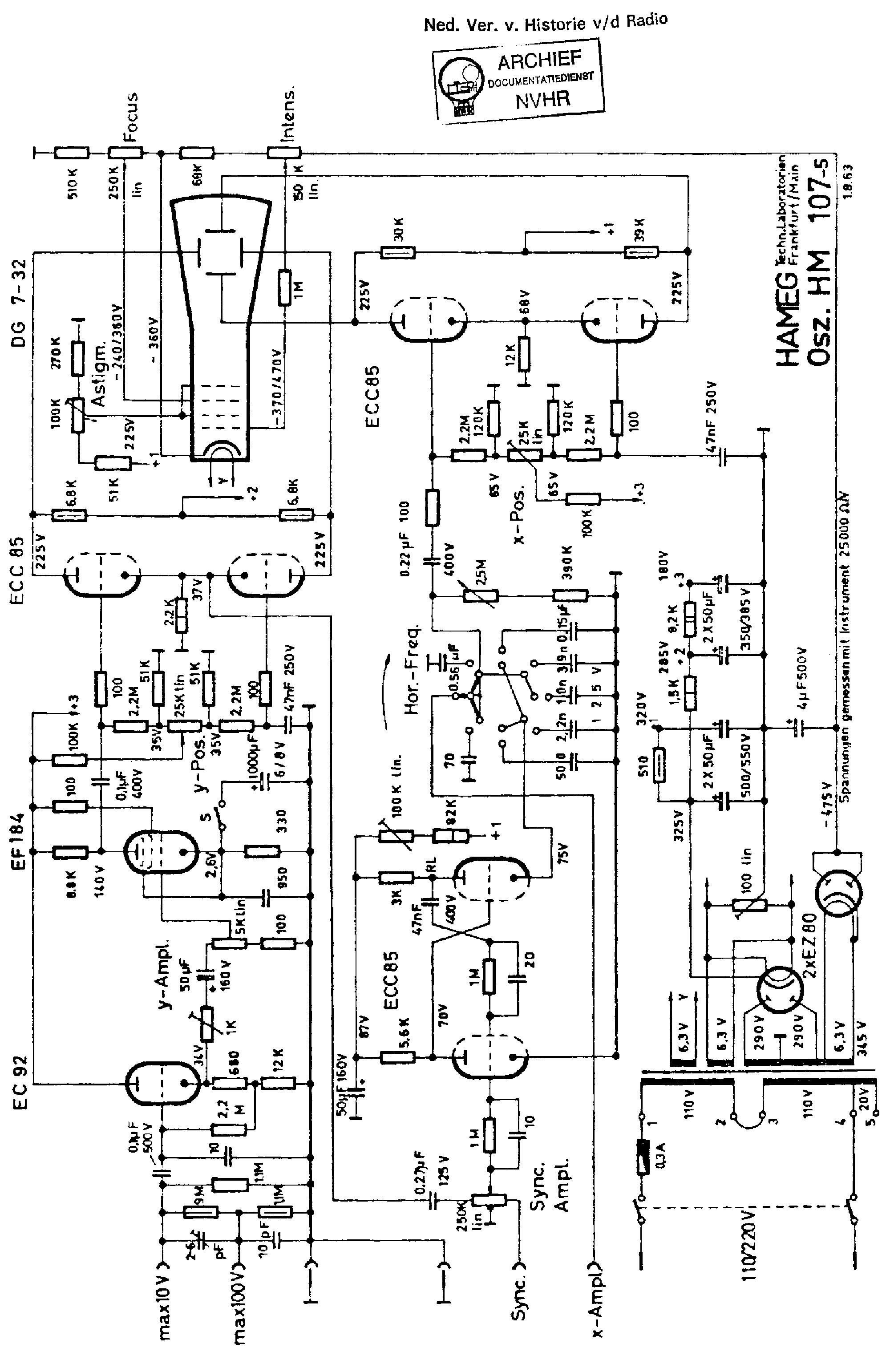 hameg hm107 60mv 5mhz oscilloscope 1963 sch service manual