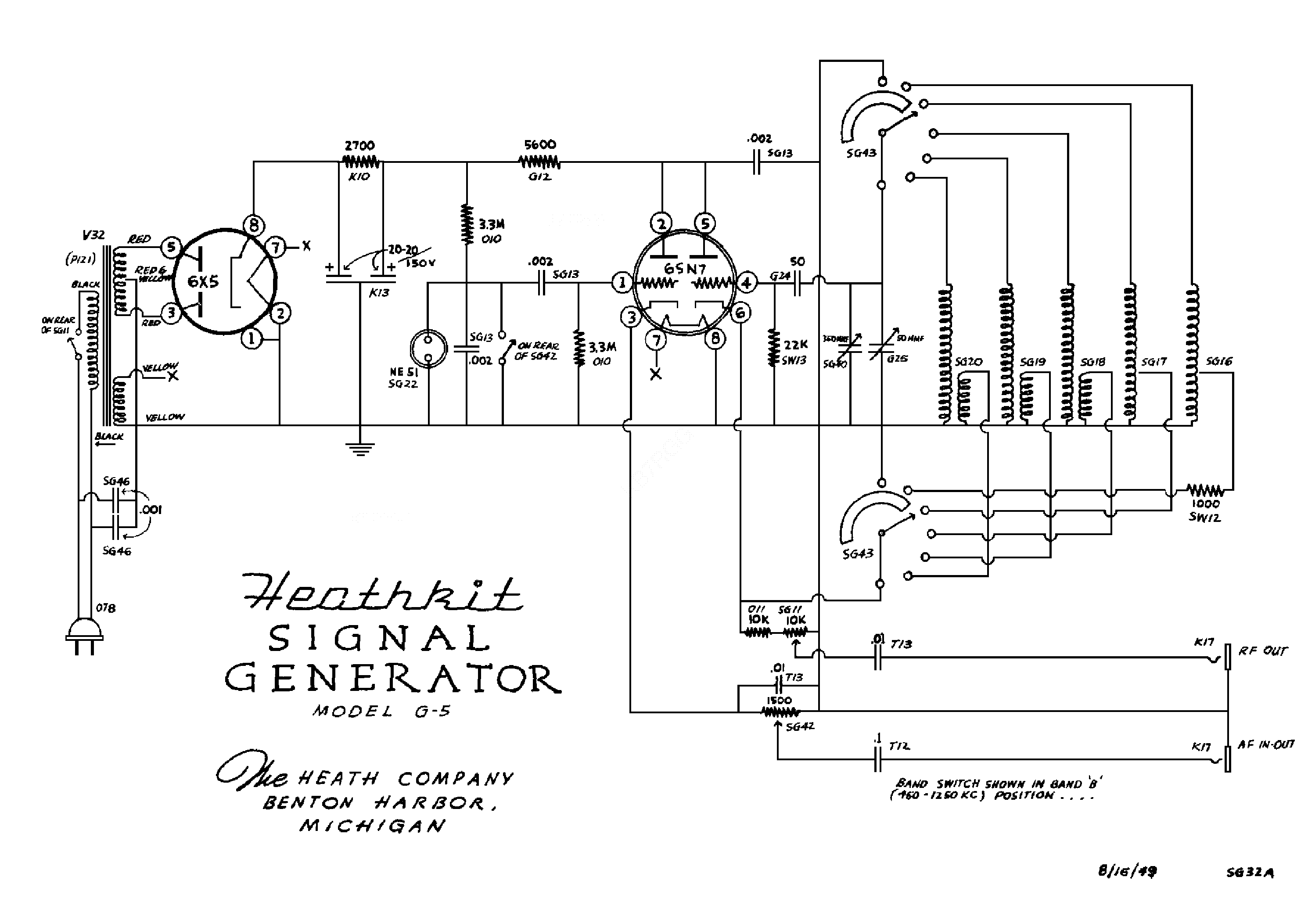 Signal Generator Schematic Wiring Library Current Amplifier Circuit Diagram Tradeoficcom Heathkit G5 Sch Service Manual 1st Page