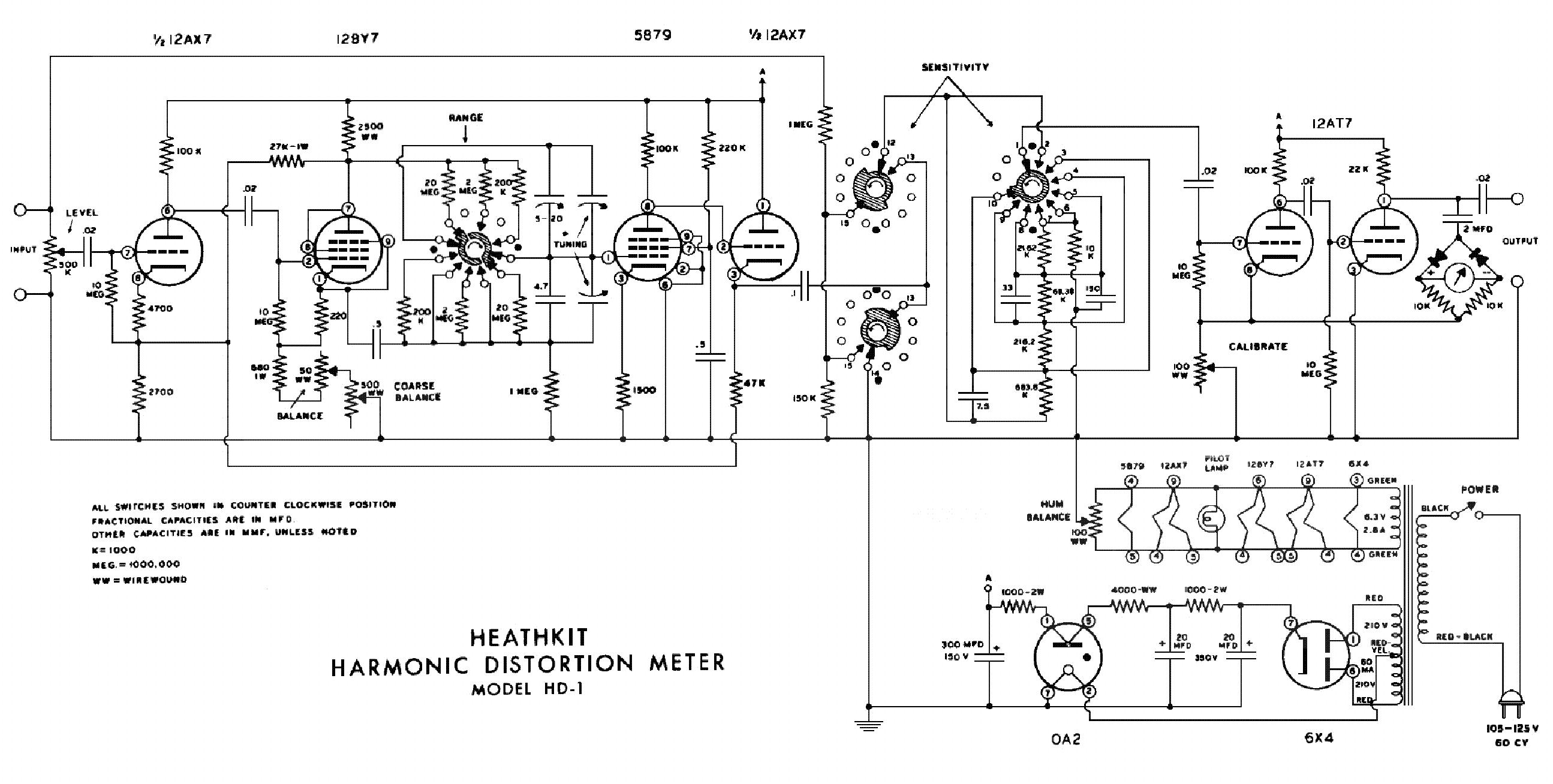 Harmonic Distortion Heathkit Hd 1 Harmonic Distortion Meter Sm Service Manual Free