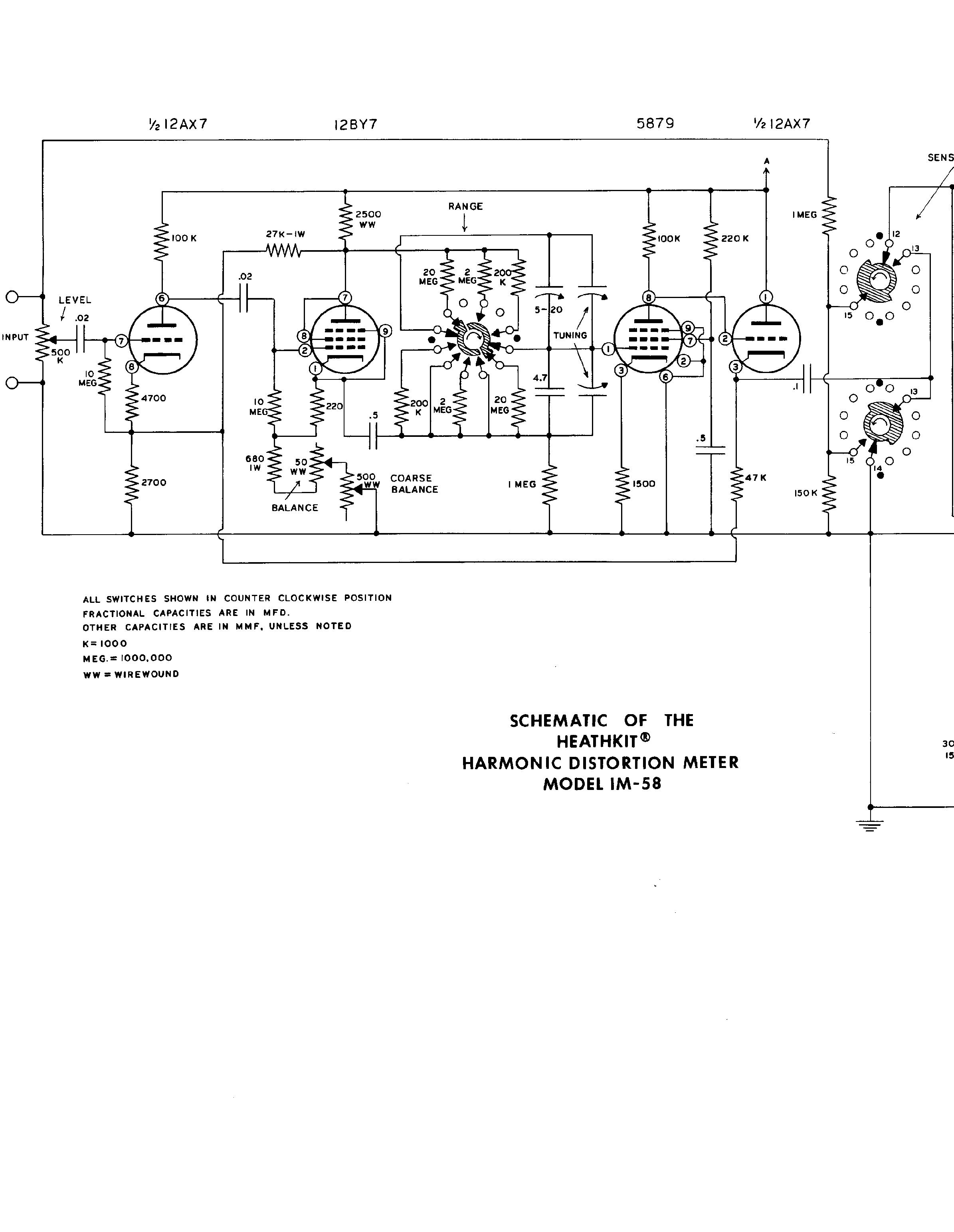 Harmonic Distortion Heathkit Im 58 Harmonic Distortion Meter Sch Service Manual