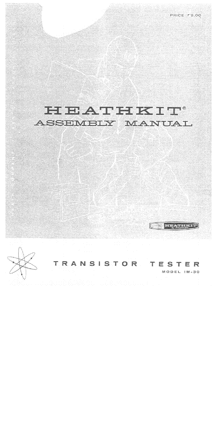 Heathkit Im30 Transistor Tester Sm Service Manual Download For Repair 1st Page