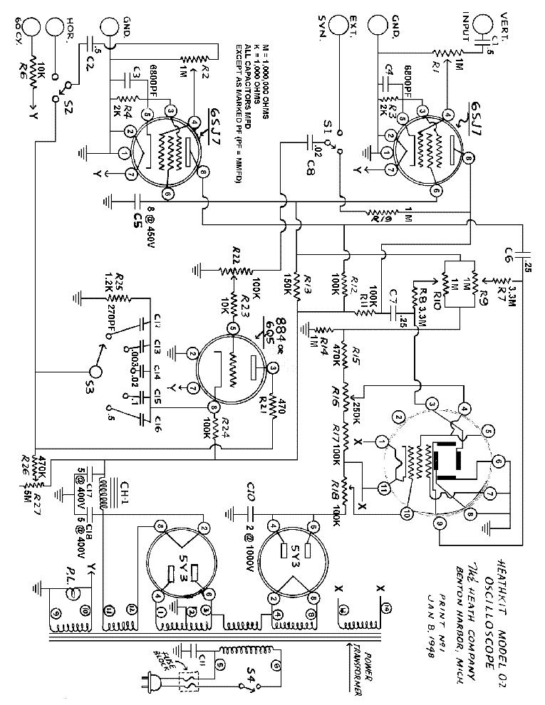 Heathkit O 2 Oscilloscope Sch Service Manual Download Schematics