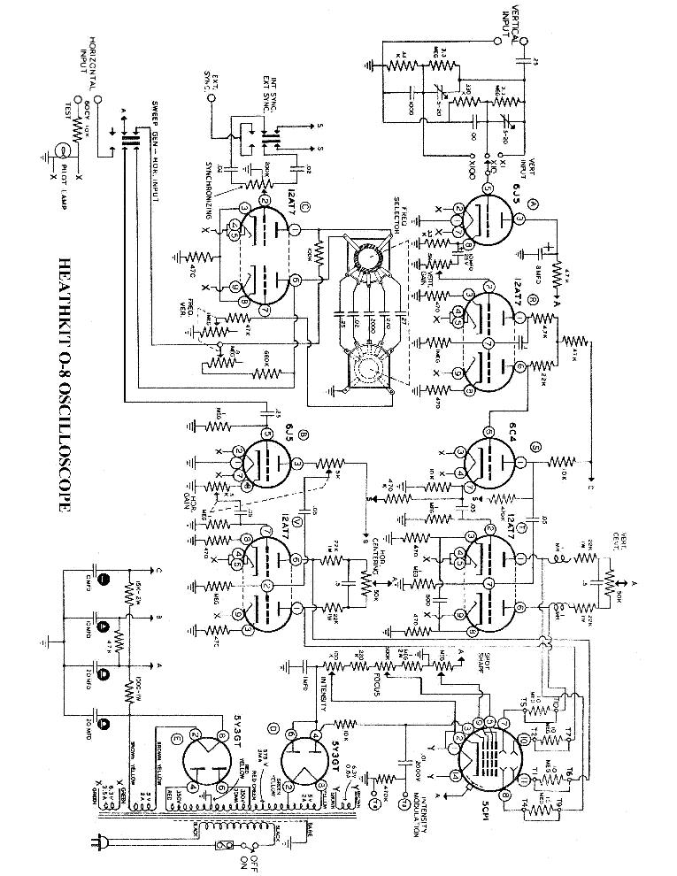 Heathkit O 8 Oscilloscope Sch Service Manual Download Schematics