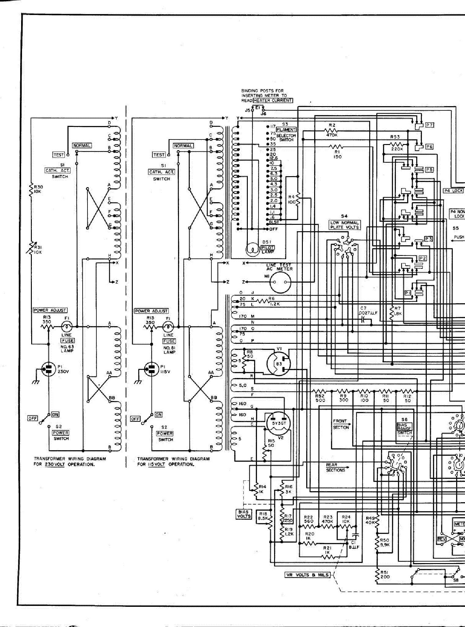 hickok 605a tube tester tube setup chart service manual