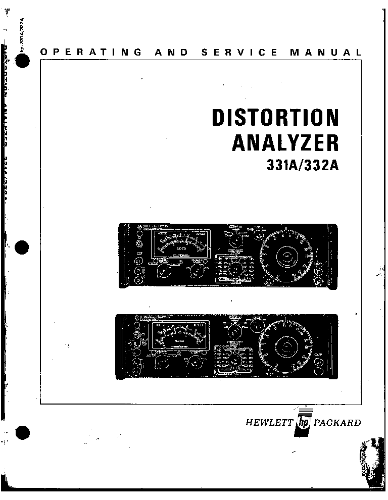 HP 331A 332A DISTORTION ANALYSER Service Manual download