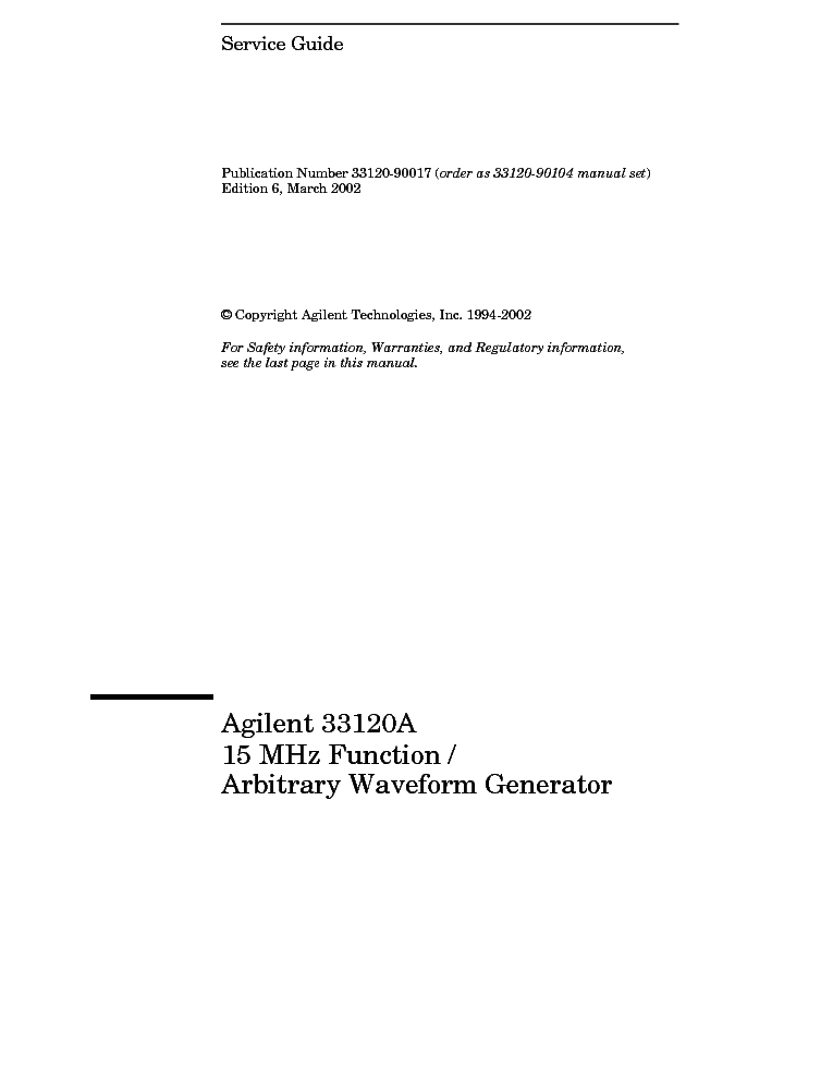 HP AGILENT-TECHNOLOGIES 33120A FUNCTION GENERATOR service manual (1st page)