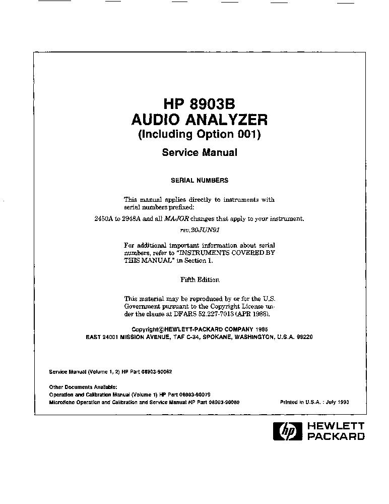 Hp Agilent Technologies 8903b Audio Analyzer Vol1 Service Manual Download Schematics Eeprom Repair Info For Electronics Experts