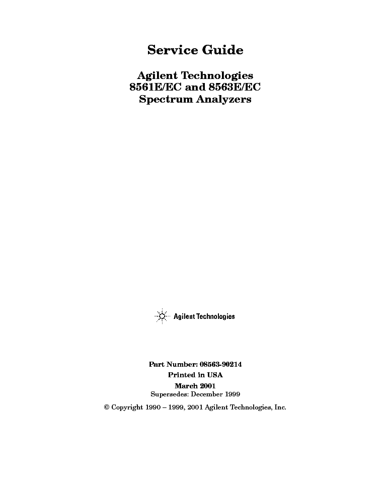 HP AGILENT 8563E-EC SPEKTRUM-ANALYZER SM service manual