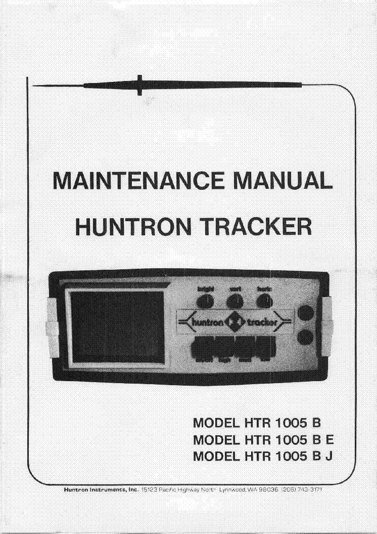 HUNTRON HTR-1005-B-BE-BJ TRACKER MAINTENANCE SCH service manual (