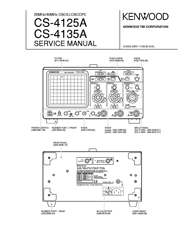 KENWOOD CS-4125A CS-4135A OSCILLOSCOPE service manual (1st page)