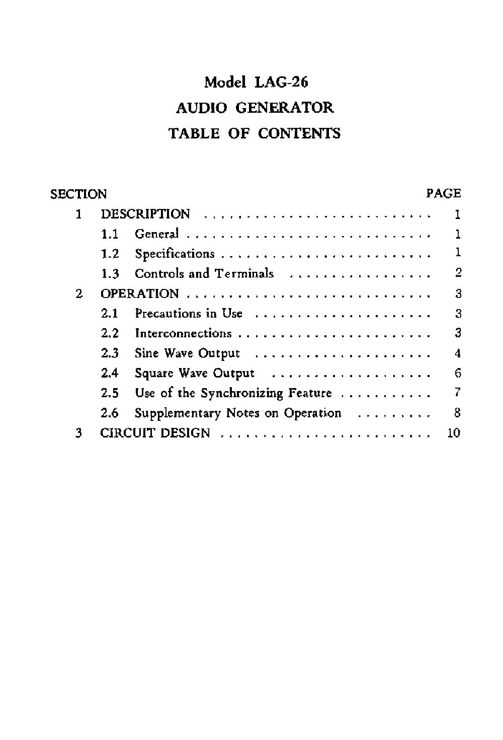 LEADER LAG-26 AUDIO-GENERATOR SM Service Manual download, schematics