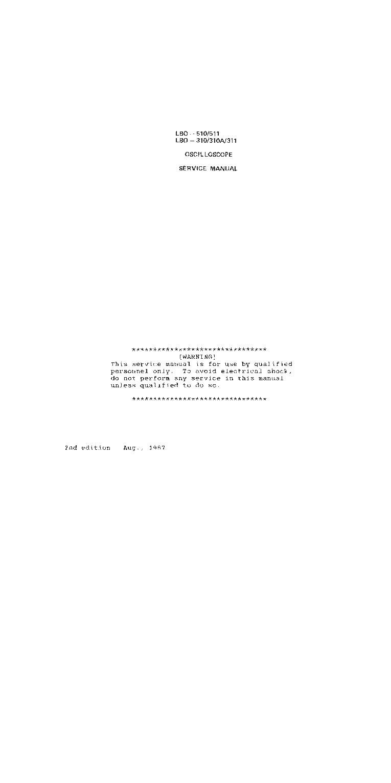 LEADER LBO 310 310A 311 510 511 OSCILLOSCOPE 1987 SM service manual (1st  page)