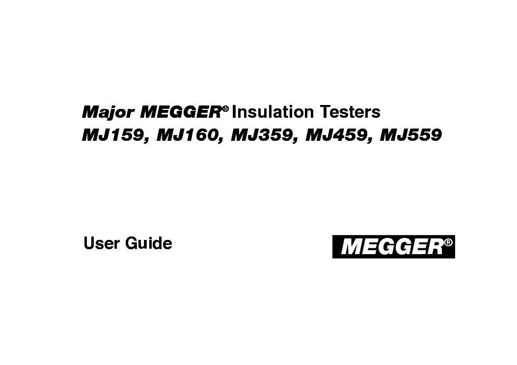 Megger Mj159 Mj160 Mj359 Mj459 Mj559 212159 Series