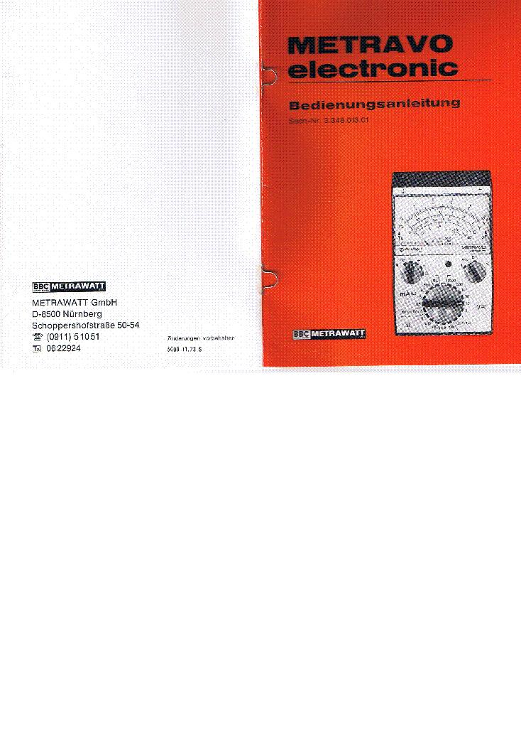 METRAWATT METRAVO ELECTRONIC UM Service Manual download, schematics ...
