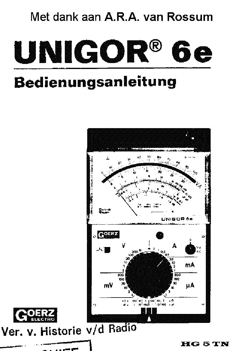 metrawatt unigor 6e analog electronic mm 1973 sch service manual download  schematics  eeprom