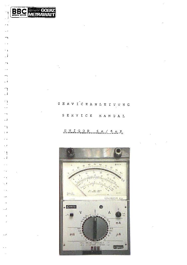 Unigor 6e 6ep Multimeter Sm Service Manual Download