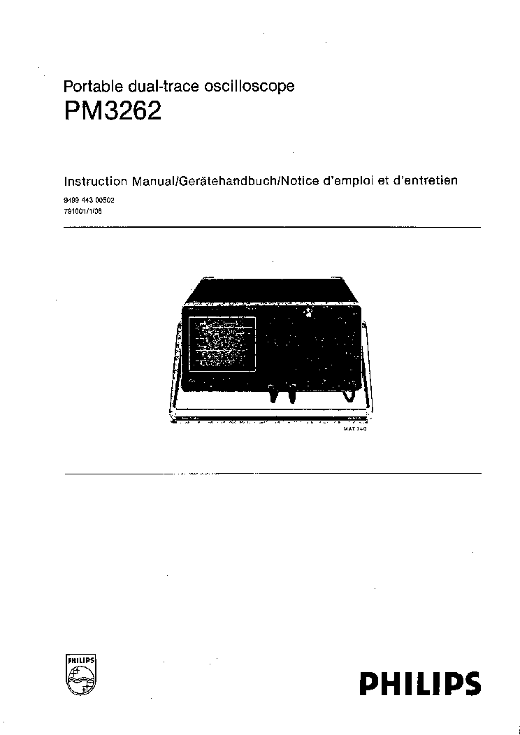 PHILIPS PM3262 SERVICE MANUAL service manual