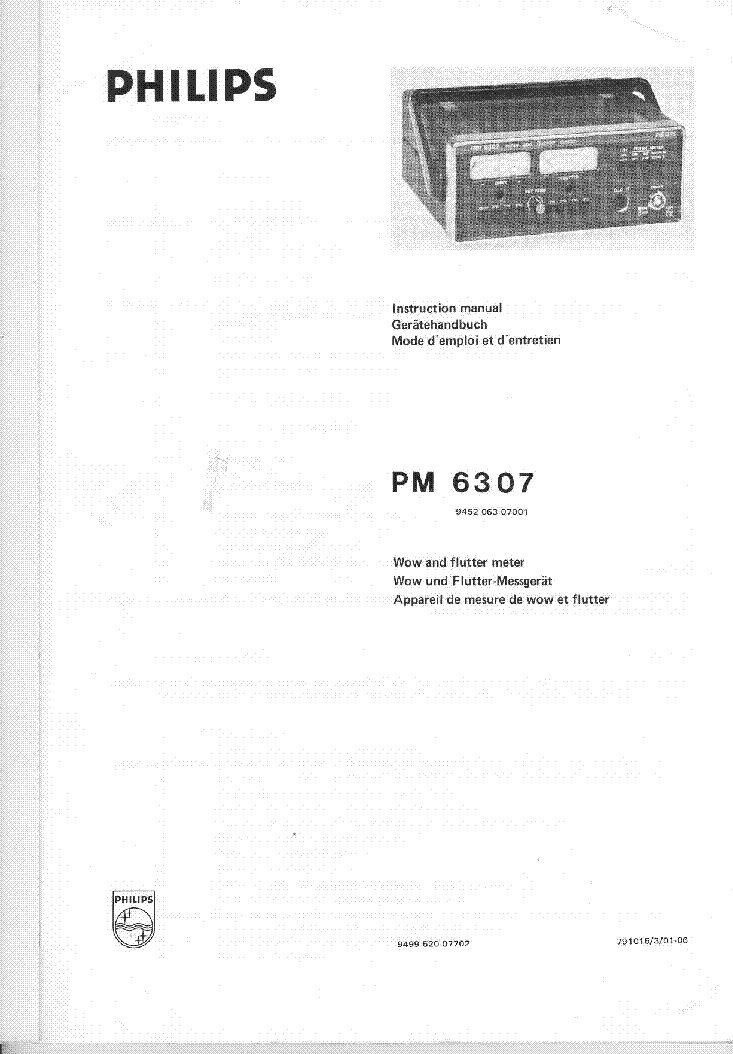 PHILIPS PM6307 WOW AND FLUTTER METER 1979 SM Service Manual