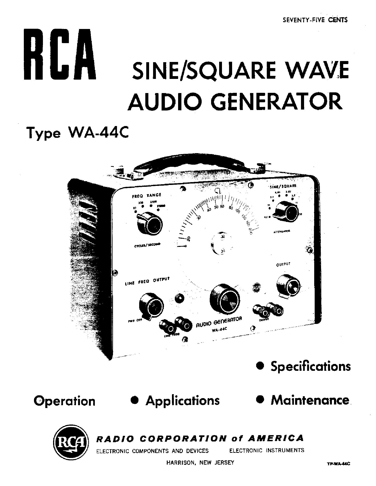 RCA WA44C AUDIO GENERATOR Service Manual download, schematics ...