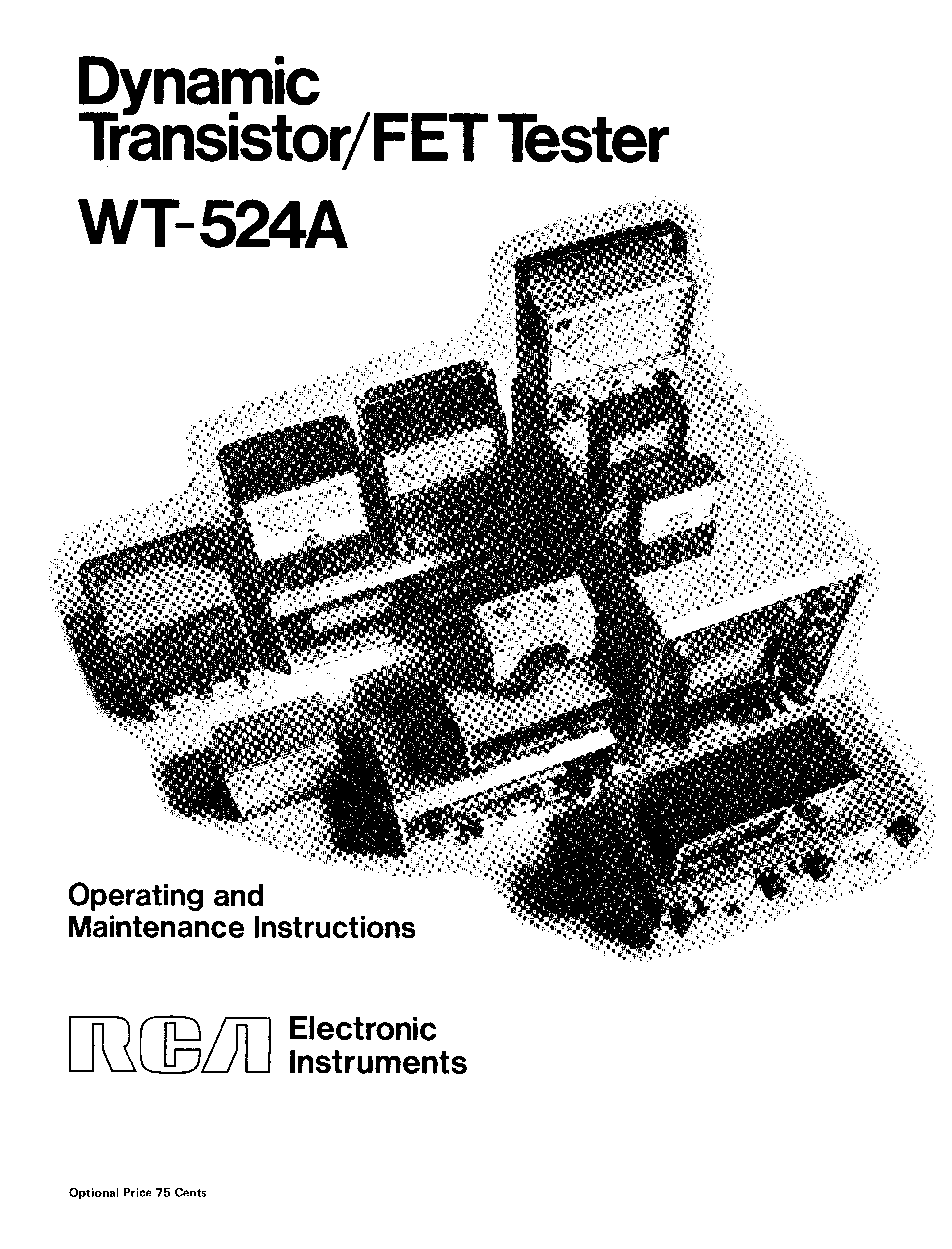 RCA WT-524A DYNAMIC TRANSISTOR FET TESTER service manual (1st page)