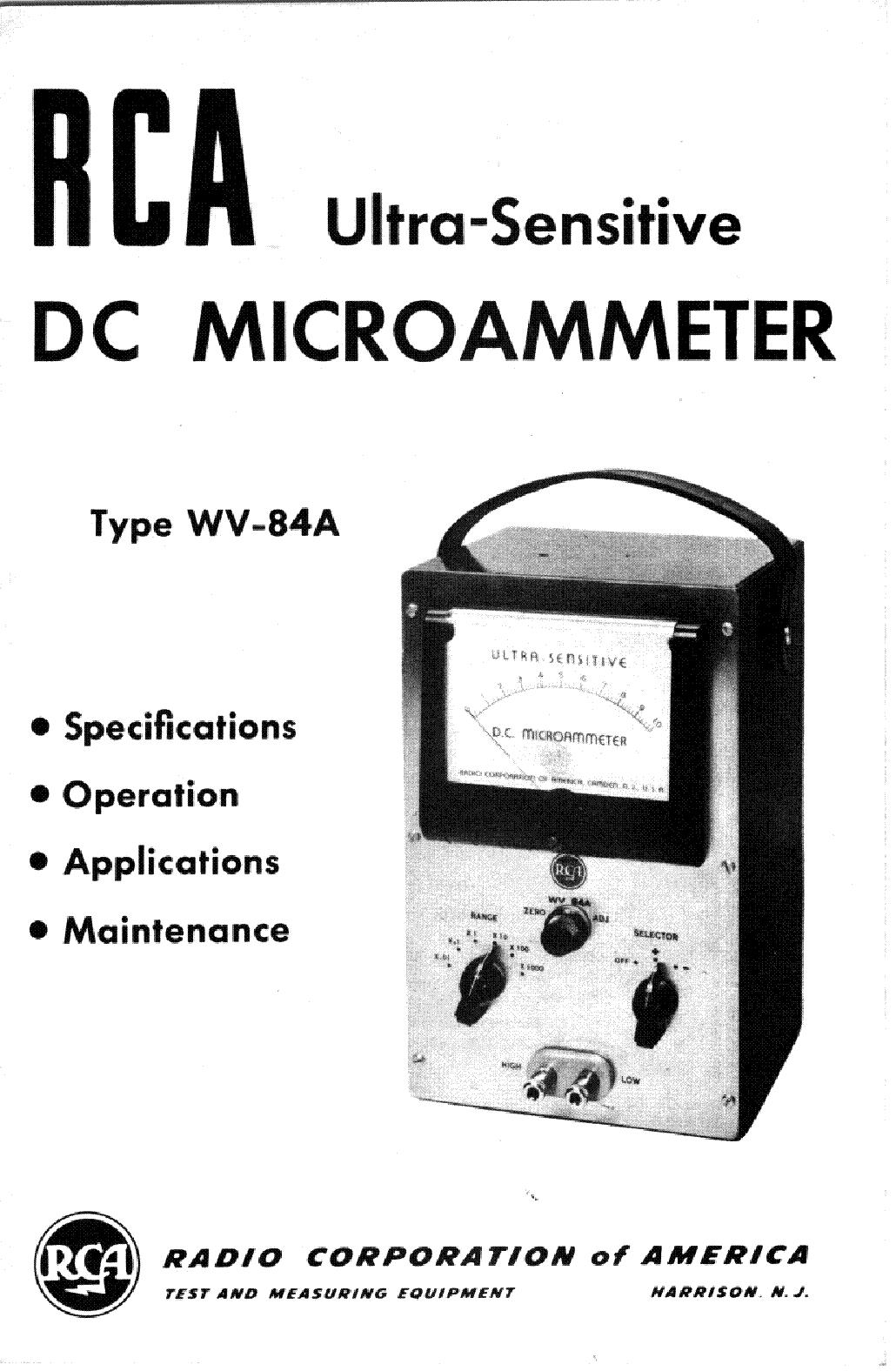 rca wv84a dc microammeter service manual download. Black Bedroom Furniture Sets. Home Design Ideas