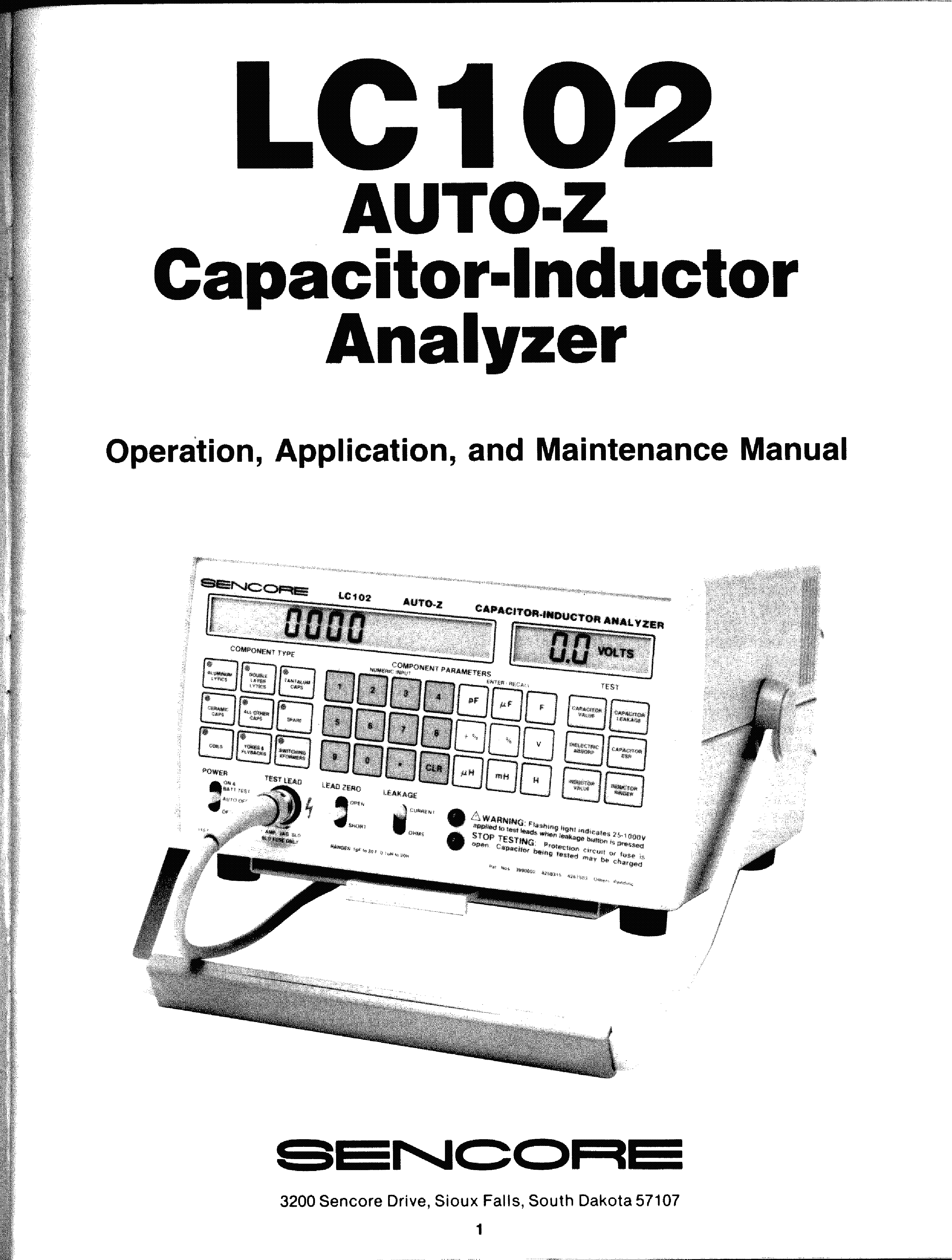 SENCORE LC102 AUTO-Z CAPACITOR-INDUCTOR ANALYZER service manual (1st page)
