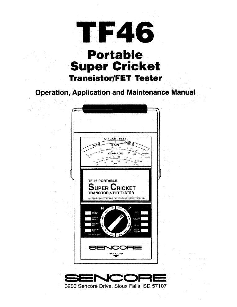 Sencore Tf46 Super Cricket Multimeter Partially Schematics Sm Service Manual Download