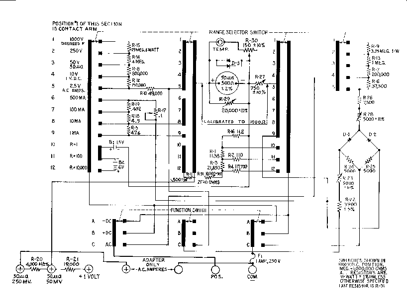 analog multimeter circuit diagram