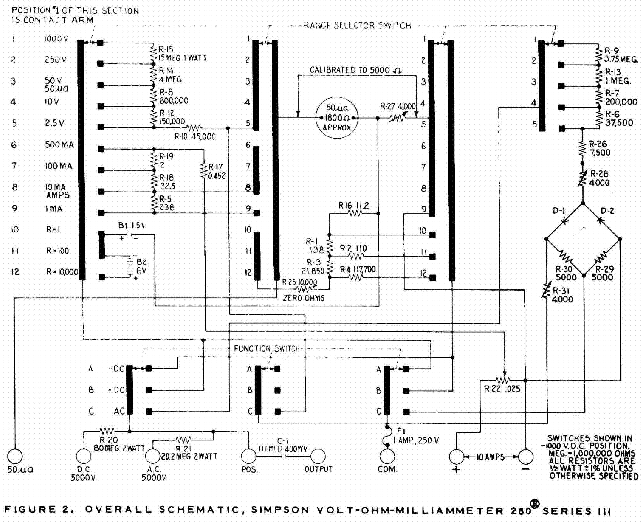 Electrical Wiring Diagrams For A Simpson 260 Multimeter - 2.5 ... on how a multimeter works diagram, crt monitor schematic diagram, tachometer schematic diagram, digital ohm meter schematic, msd digital 7 wiring diagram, schematic wiring diagram, digital tuner schematic, digital scale diagram,