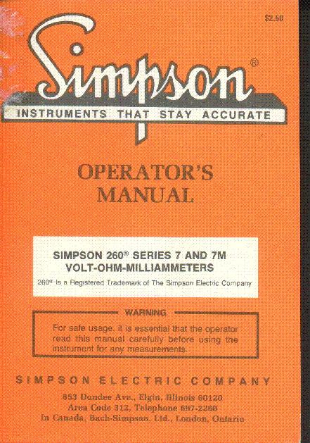 Simpson 314 Fet Vom Operators Manual Service Manual Free