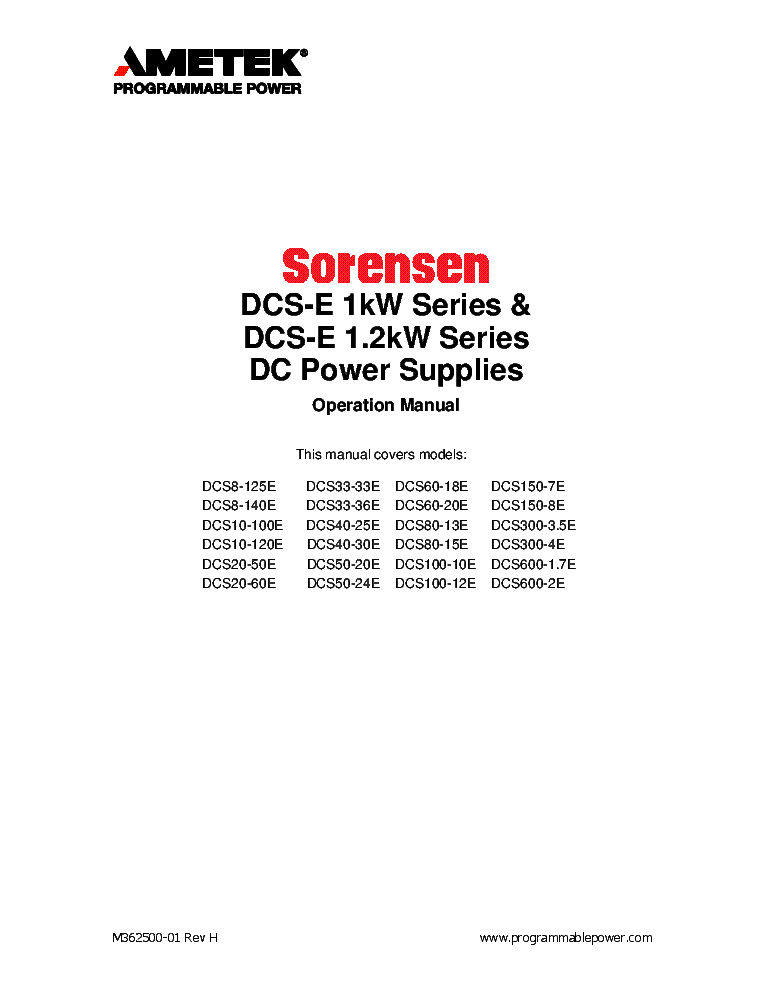 SORENSEN DCR-B SERIES POWER SUPPLY Service Manual download