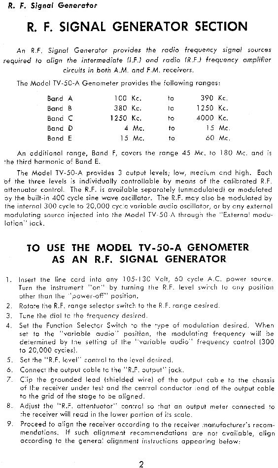 Superior Model TV-50 Genometer Operating Manual Test Equipment ...