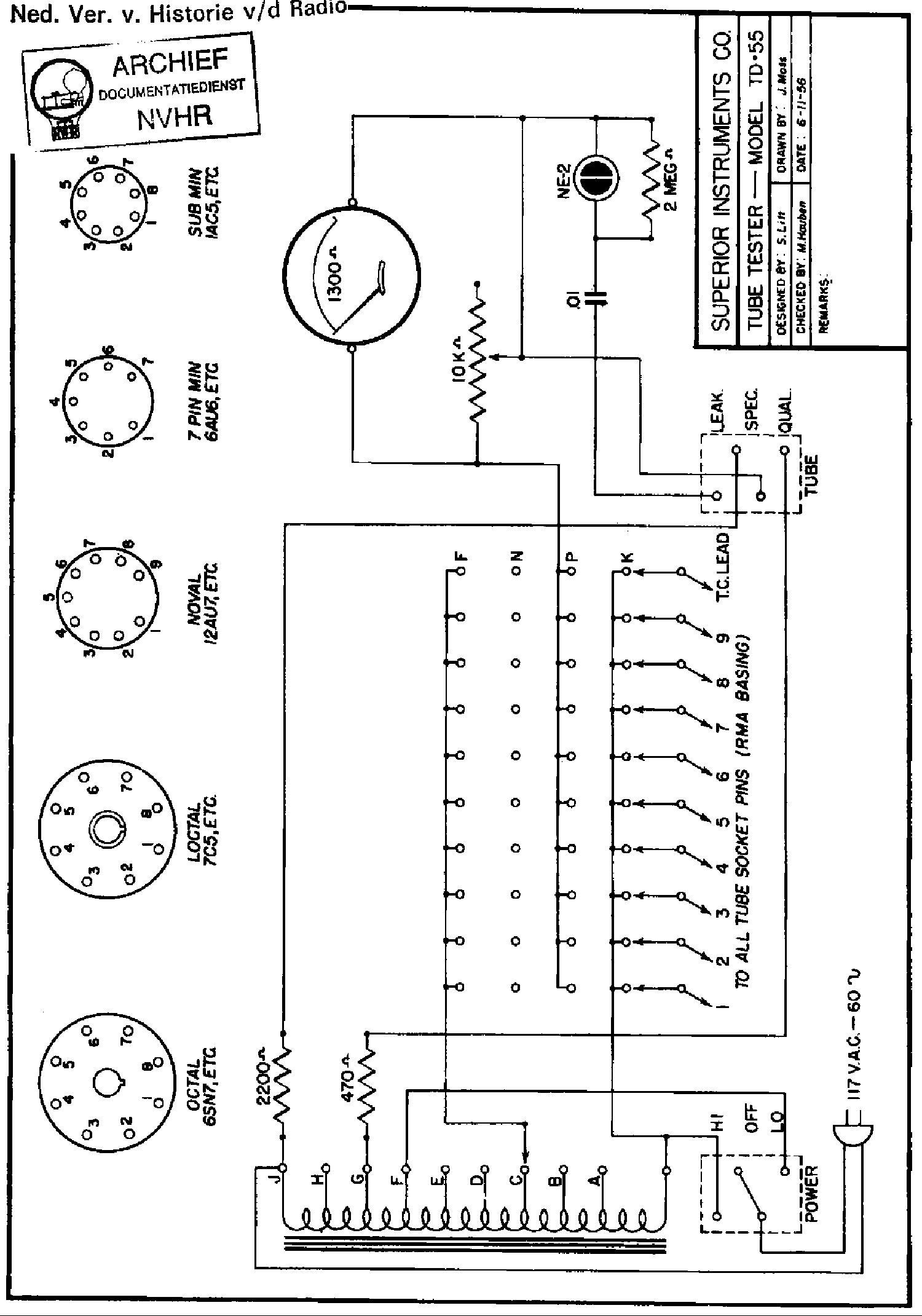 superiorinstruments td55 tube tester 1956 sch service