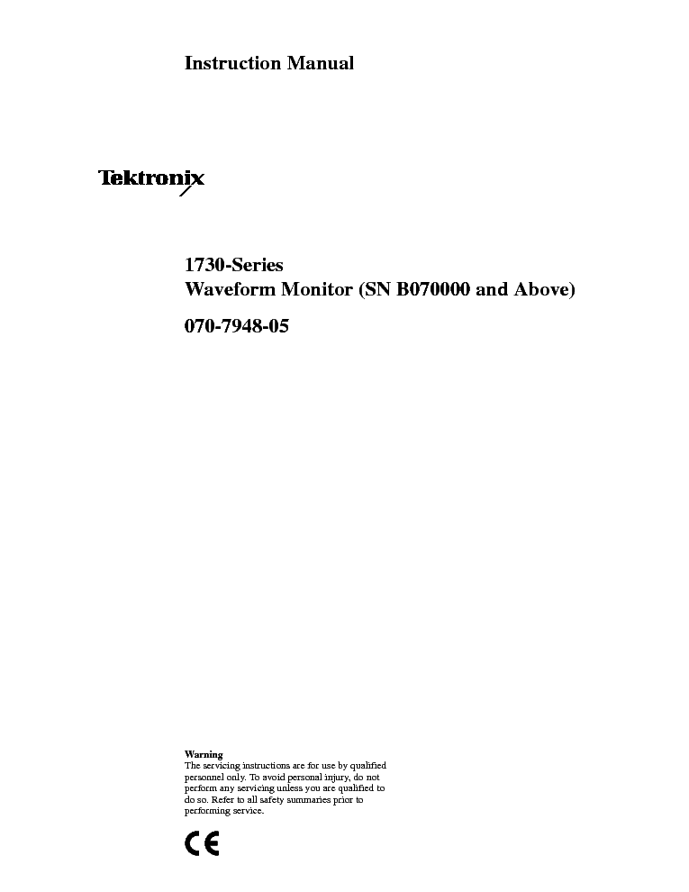 TEKTRONIX 1730 service manual (1st page)