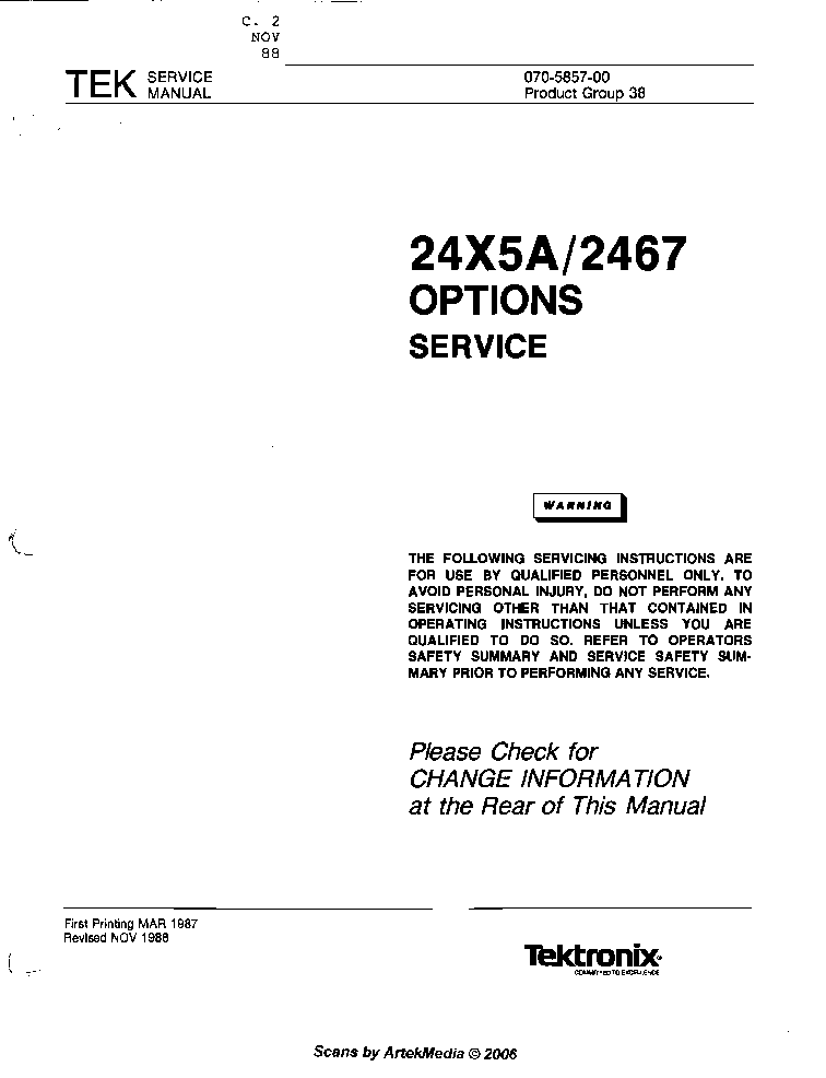 TEKTRONIX 2445A service manual (1st page)
