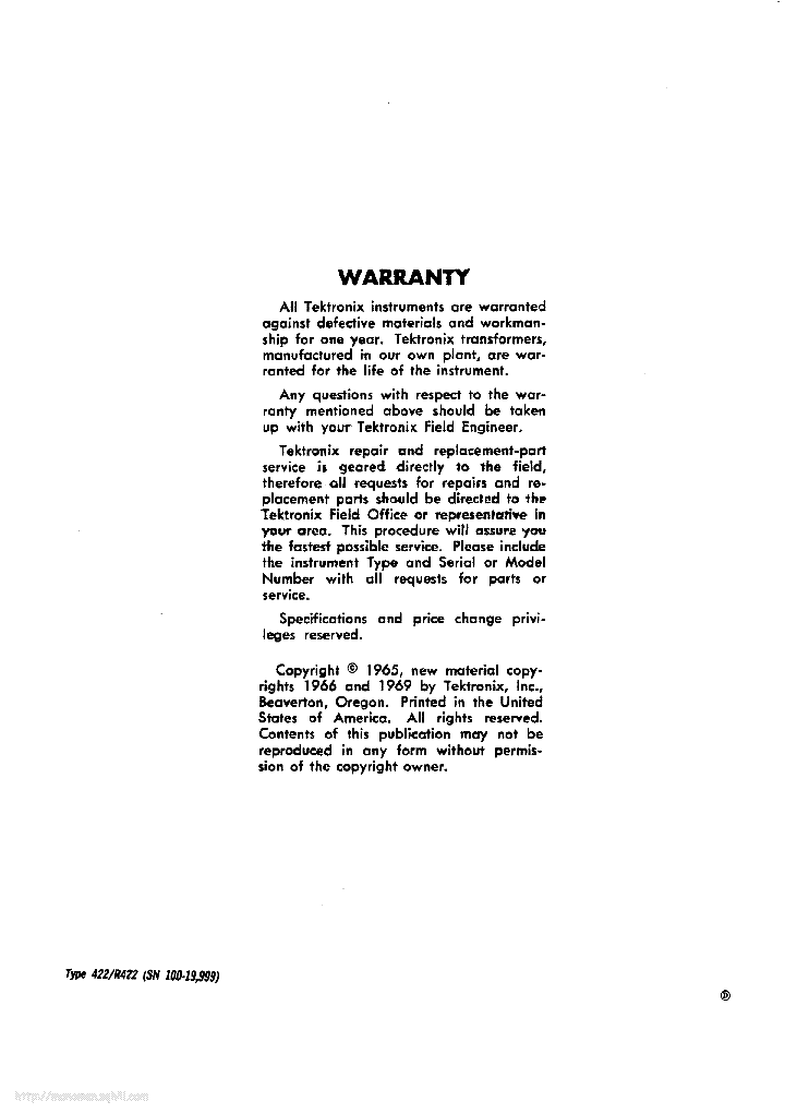 TEKTRONIX 422 R422 service manual (2nd page)
