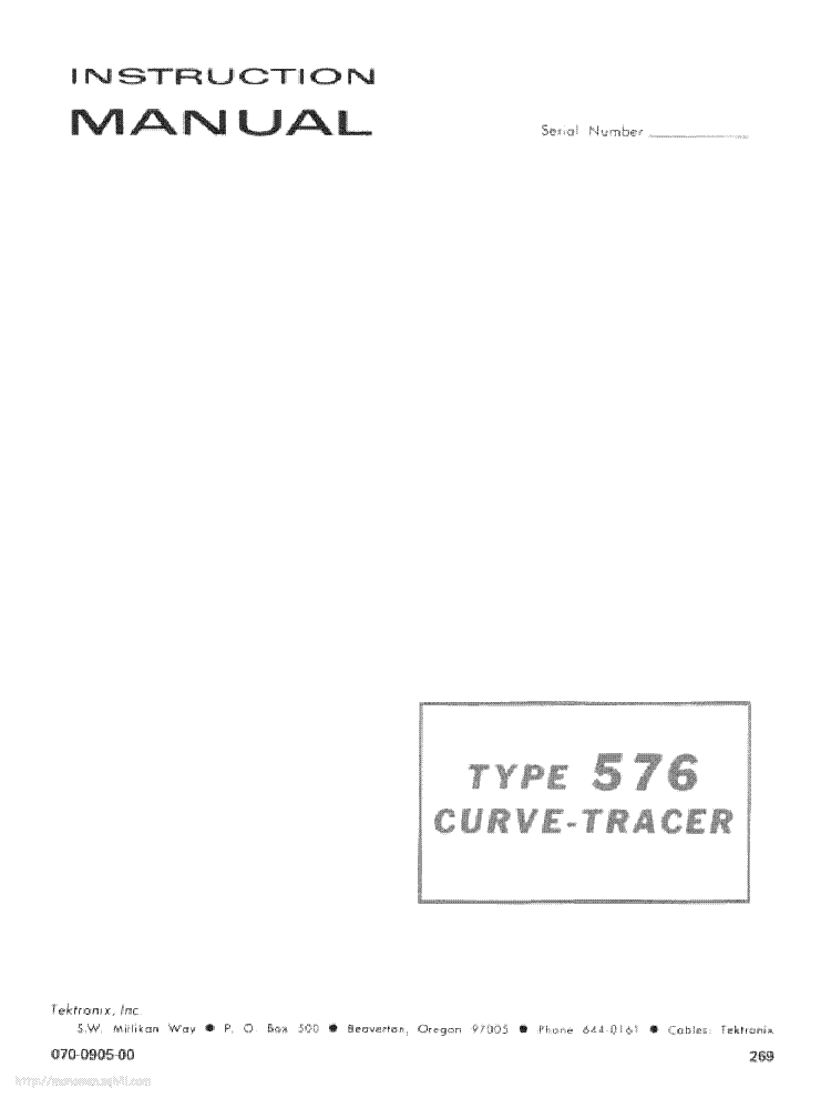 Curve Tracer 576 manual