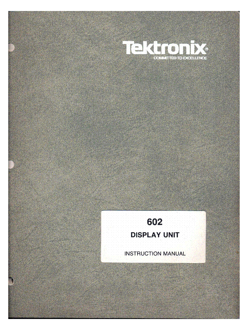TEKTRONIX 602 1MHZ X-Y DISPLAY UNIT 1968,81 SM service manual (1st page)