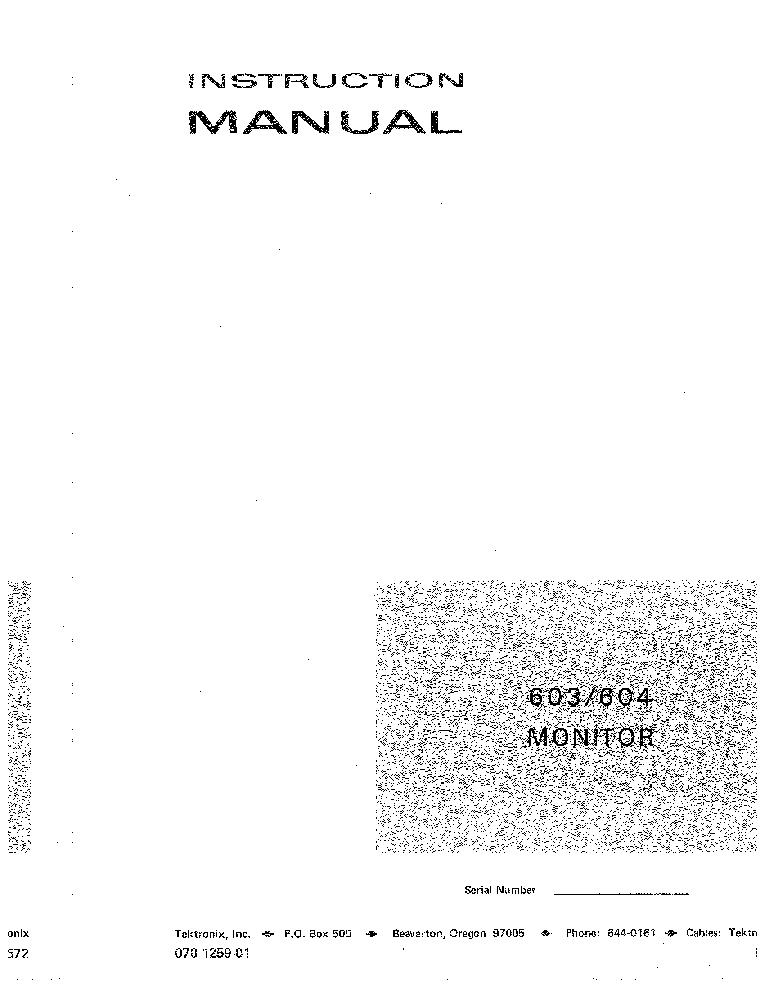 Tektronix 603 604 Xyz Display Monitor Instruction Manual