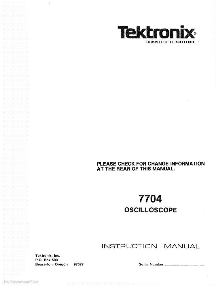 TEKTRONIX 7704 service manual