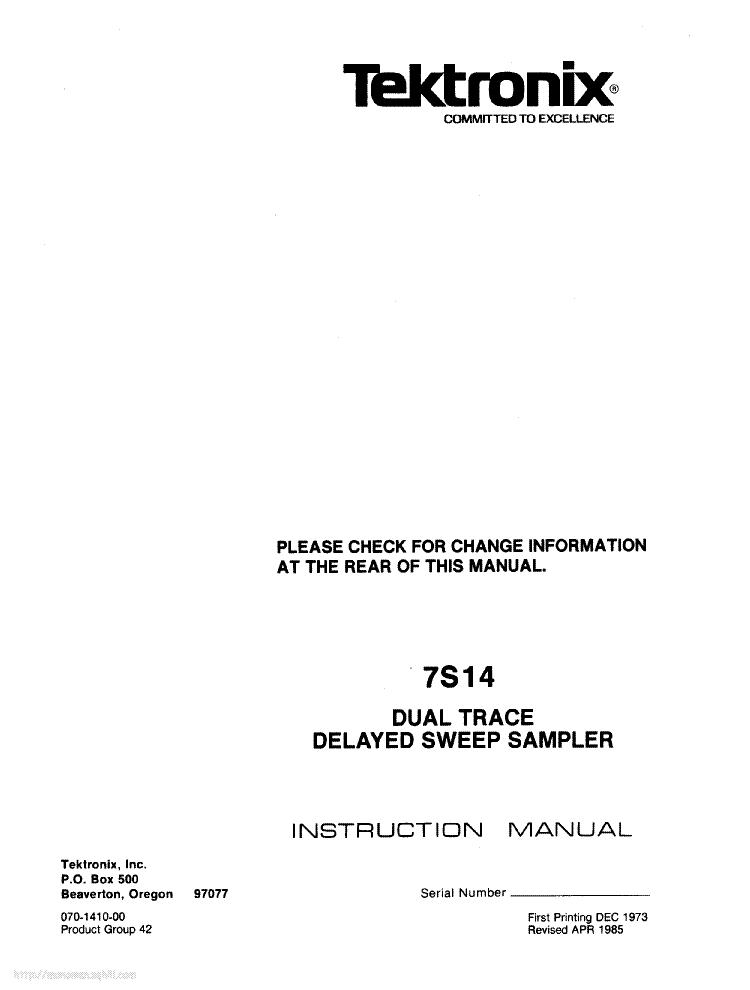 TEKTRONIX 7S14 service manual