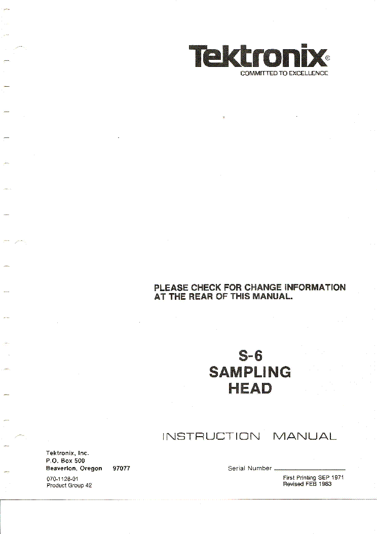 TEKTRONIX S-6 SAMPLING-HEAD MINTAVETELEZO FEJ 1982 SM service manual